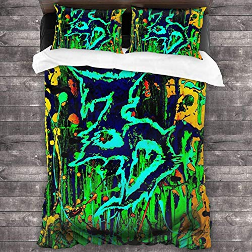 3-Piece Bedding Sets 86'X70',Zeds Dead Abstract Art Portable Bed King Size Complete Set With 2 All-Match Throw Pillow Covers For Girls Bedroom