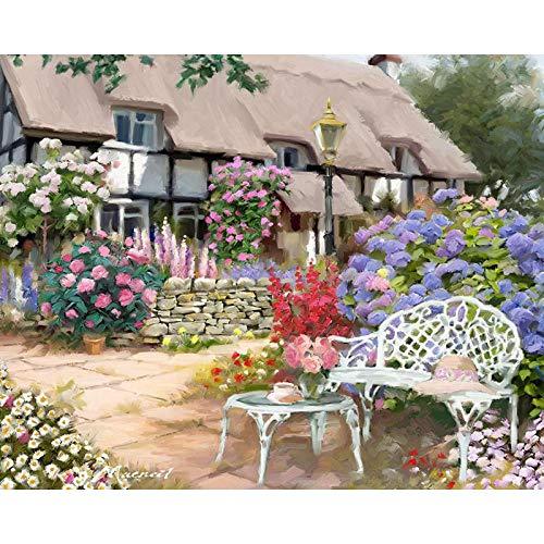 DIY numerici Set Pittura Bambini Adulti Pittura ad Olio Fai da Te Decorazioni per la casa(Senza Cornice) Casa di Paglia in Stile Europeo