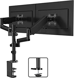 "IMtKotW Dual Arm Monitor Desk Mount Stand,Height Adjustable Full Motion Gas Spring Monitor Mount Riser with C Clamp/Grommet Base Fits Two 17""-32"" LCD LED Computer Screens up to 17.6lbs per"