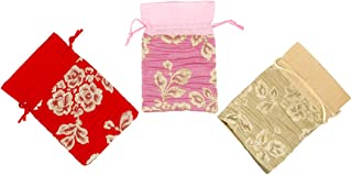 """3 Mixed Color Premium Drawstring Bags Bag (Size:-6"""" X 4"""" i.e. 15CM X 10CM) Small Pouches Gifts Return Gift Potlis Party Fa..."""