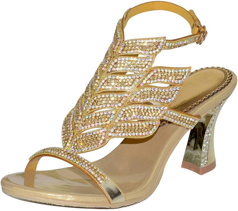 YooPrettyz Women Open Toe Crystal Sandal Comfort Chunky Heels Glitter Cutout Party Heels