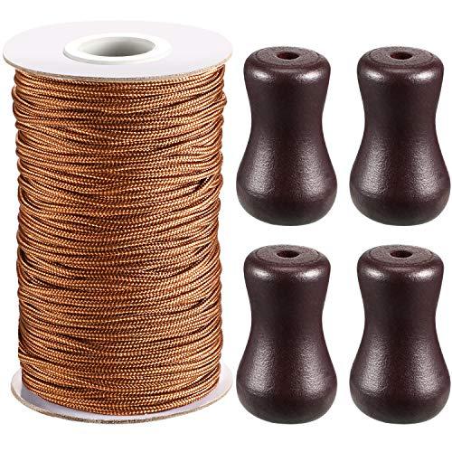 Rollo de cordón trenzado para tiradores de persianas venecianas de aluminio, jardinería o manualidades, de 1,8mm y 50m de largo, con 4 colgantes de madera blanca, marrón