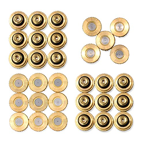 "Aootech 32 Pack Brass Misting Nozzles for Outdoor Cooling System, 0.012"" Orifice (0.3 mm) 10/24 UNC"