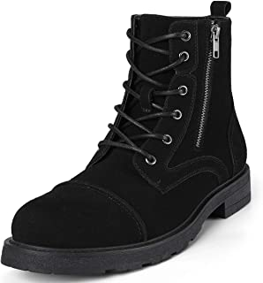 Men's Motorcycle Snow Dress Boots - Lace Up Zip Cap Toe Ankle Boot Military Tactical Work Combat Hiking Botas Invierno Hombre