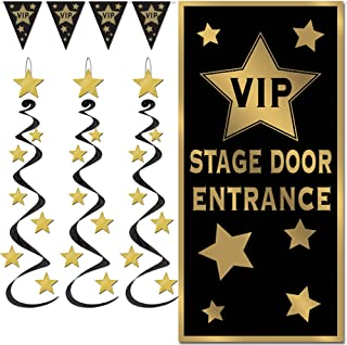 VIP Hollywood Red Carpet Awards Night Party Decorations for Birthday Retirement Graduation Door Cover Hanging Whirls Penna...