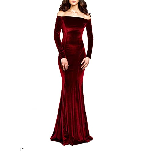 551f7aa4e95 TTYbridal Off The Shoulder Velvet Evening Gown Long Prom Party Dresses with  Two Sleeves V4