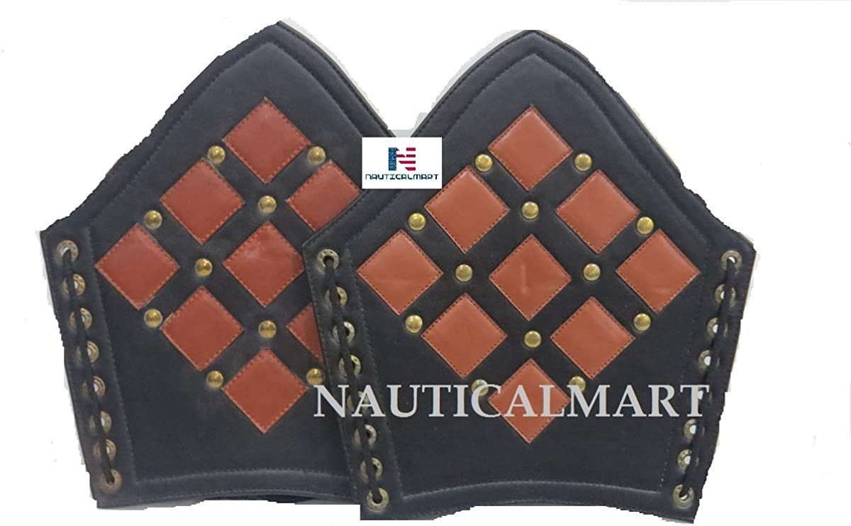 Inventory cleanup selling sale Black Leather Metal New York Mall Studded Gauntlet Wide Wristband Arm Bracer A