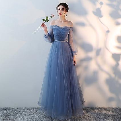 Lff Brautjungfer Kleid Sommer Blau Lange Schwestern Gruppe Brautjungfer Kleid Kleid Bankett Abendkleid Blau Xxl Amazon De Bekleidung
