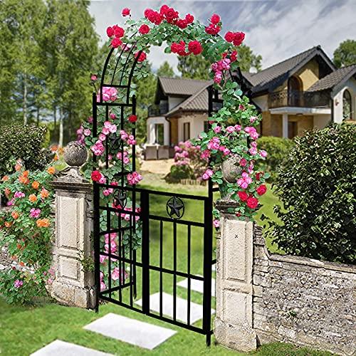 FSJD Arco de Rosa de jardín Negro, Arco de cenador de jardín con Gazebo de Enrejado de Puerta, Arco de Escalada de Rosas para jardín al Aire Libre, terraza, Patio Trasero, L 114cm X W 45cm X H 226cm