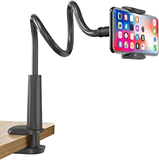 Gooseneck Cell Phone Holder, Universal 360 Flexible Phone Stand Lazy Bracket Mount Long Arms Clamp for Phone 11 Pro Xs Max XR X 8 7 6 6s Plus and Other 3.5~6.5'' Device (Black)