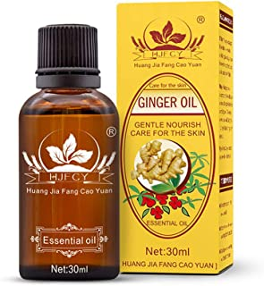 Ginger Essential Oil, Natural Plant Therapy Ginger Oil Lymphatic Drainage, SPA Massage Oil, Muscle Soreness Relief, Promot...
