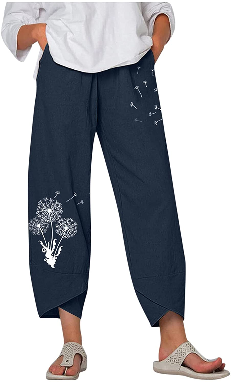 MASZONE Women's Capri Pants Casual Harem Pants Cotton Linen Wide Leg Palazzo Pants Summer Boho Trousers with Pocket