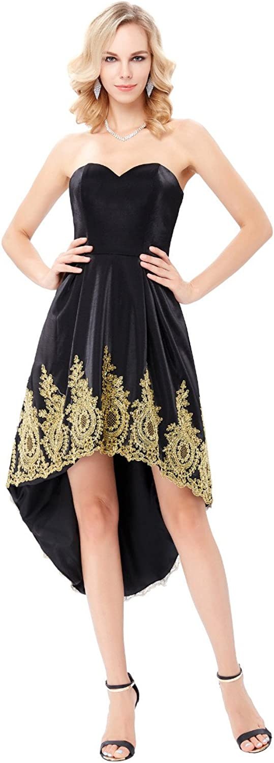 DINGZAN High Low Beach Wedding Party Dresses gold Applique Prom Gowns
