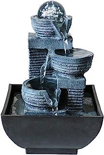 io simula Rockery Feng Shui Water Zen Cascading Relax Cascate da tavolo con luce a LED e mulino a rotella Mulino a sfera rotante Fontana da tavolo per camera da letto Soggiorno Home Office Decor
