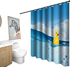 Shower Curtains Teen Boys,Rubber Duck,Little Duckling Toy Swimming in Pond Pool Sea Sunny Day Floating on Water Print,Shower Curtain for Women,W36 x L72,Blue Yellow