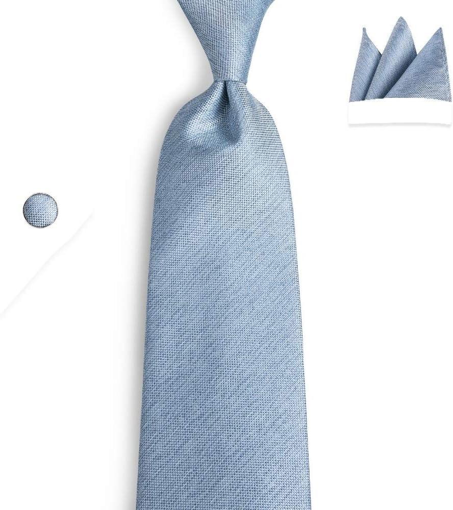 JIEIIFAFH Mens Necktie Blue Solid Wedding Tie Compatible with Men Necktie Ring Silk Tie Set Hanky Cufflinks Business (Color : Blue)
