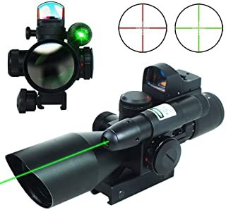 UUQ 2.5-10x40 Tactical Rifle Scope Dual Illuminated Mil-dot W/RED(Green) Light Sight, Rail Mount and 4 Reticle Red/Green Dot Reflex Sight (12 Month Warranty)