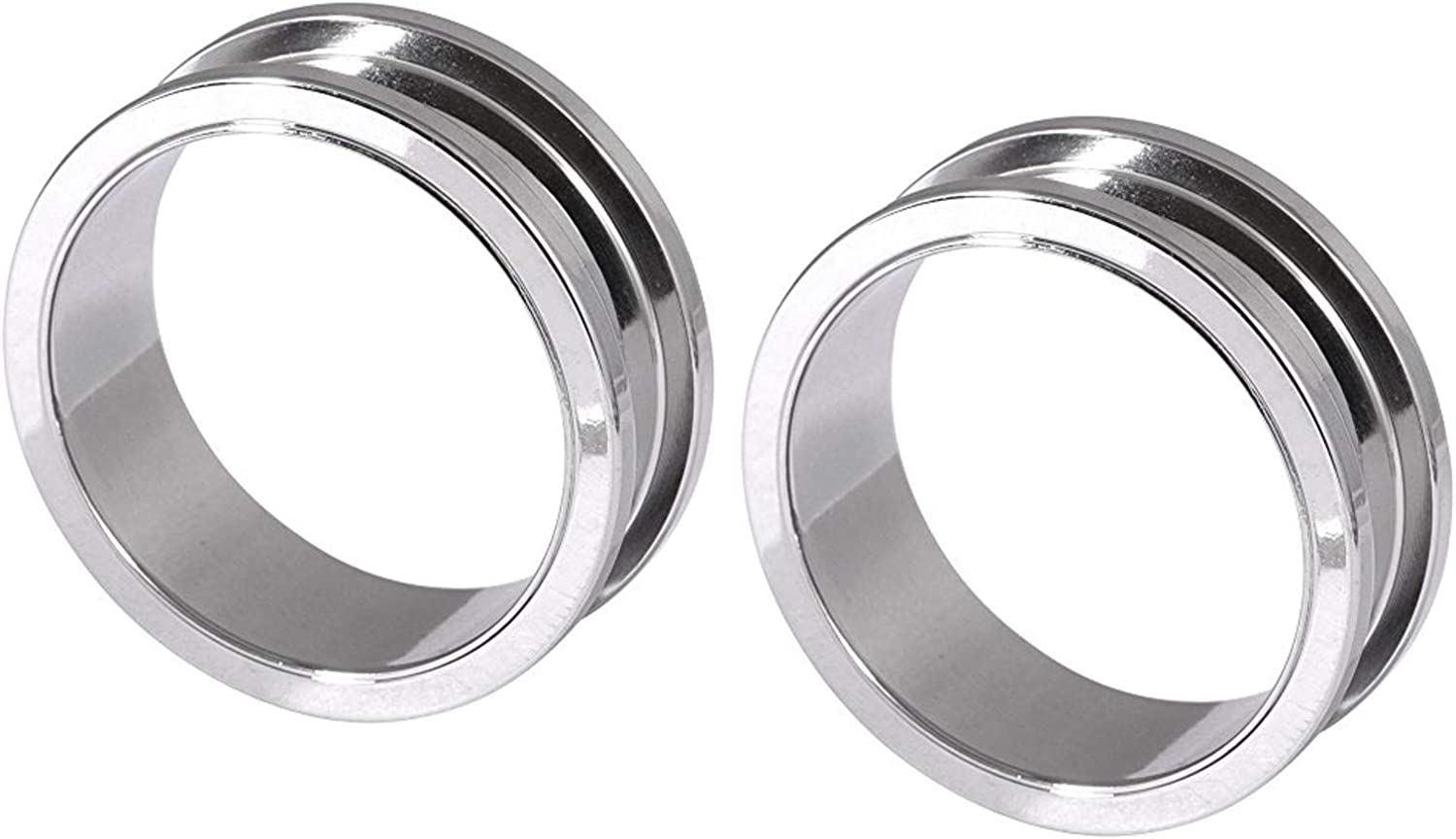 Zaya Body Jewelry Pair of Steel Screw Ear Stretching Tunnels Gauges Plugs 28mm 32mm 35mm 38mm 42mm 2 inches