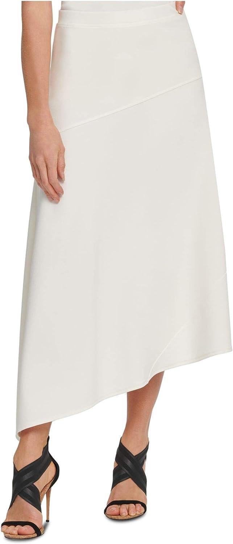 DKNY Womens White Solid Tea-Length Shift Skirt Size S
