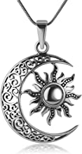 Chuvora 925 Oxidized Sterling Silver Filigree Crescent Moon and Sun Symbol Yin Yang Pendant Necklace, 18