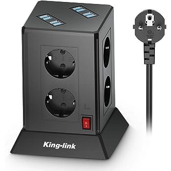 ,/Überspannungsschutz und Kurzschlussschutz 5V//3,1 A 2500W//10A HOVNEE Steckdosenleiste Mehrfachsteckdose 9 Fach Steckdosenturm mit 4 USB-A und 1 USB-C Ladeanschl/üsse und 2,0 m Kabel