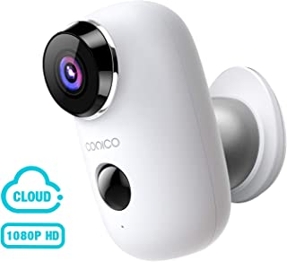 Wireless Outdoor Security Camera, CONICO 1080P Rechargeable Battery Security Camera with 2-Way Talk, Waterproof Wi-Fi IP Camera with Motion Detection Night Vision, Cloud Storage