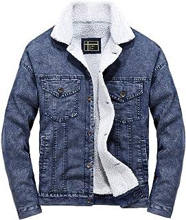 0c312ff33946 ROBO Trench Giacca di Jeans da Uomo Cappotto in Pelliccia Autunno a Manica  Lunga S-