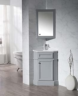 Stufurhome TY-415GY Modern Hampton Corner Bathroom Vanity with Medicine Cabinet, Grey, 27