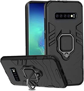 Cegar Samsung Galaxy S10 Plus Case, Stylish Dual Layer Hard PC Back Case with 360 Degree Rotation Finger Ring Grip Kickstand & Support Magnetic Car Mount Function Cover (Black)