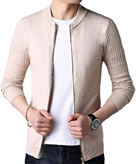 Men's Baseball Collar Zip Up Cable Knit Bomber Cardigan Sweaters
