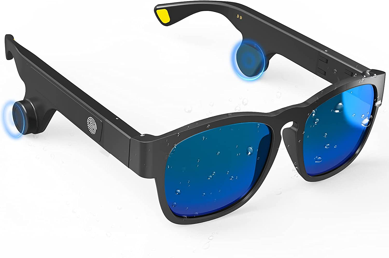 Smart Sunglasses Bone Conduction Bluetooth Sunglasses with Wireless Open-Ear Audio Hands-Free Calling & Polarized Sunglasses for Men & Women (Fashion Colour)