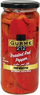 Gurme212 Fire Roasted Red Peppers, 17oz Jar, No Preservatives