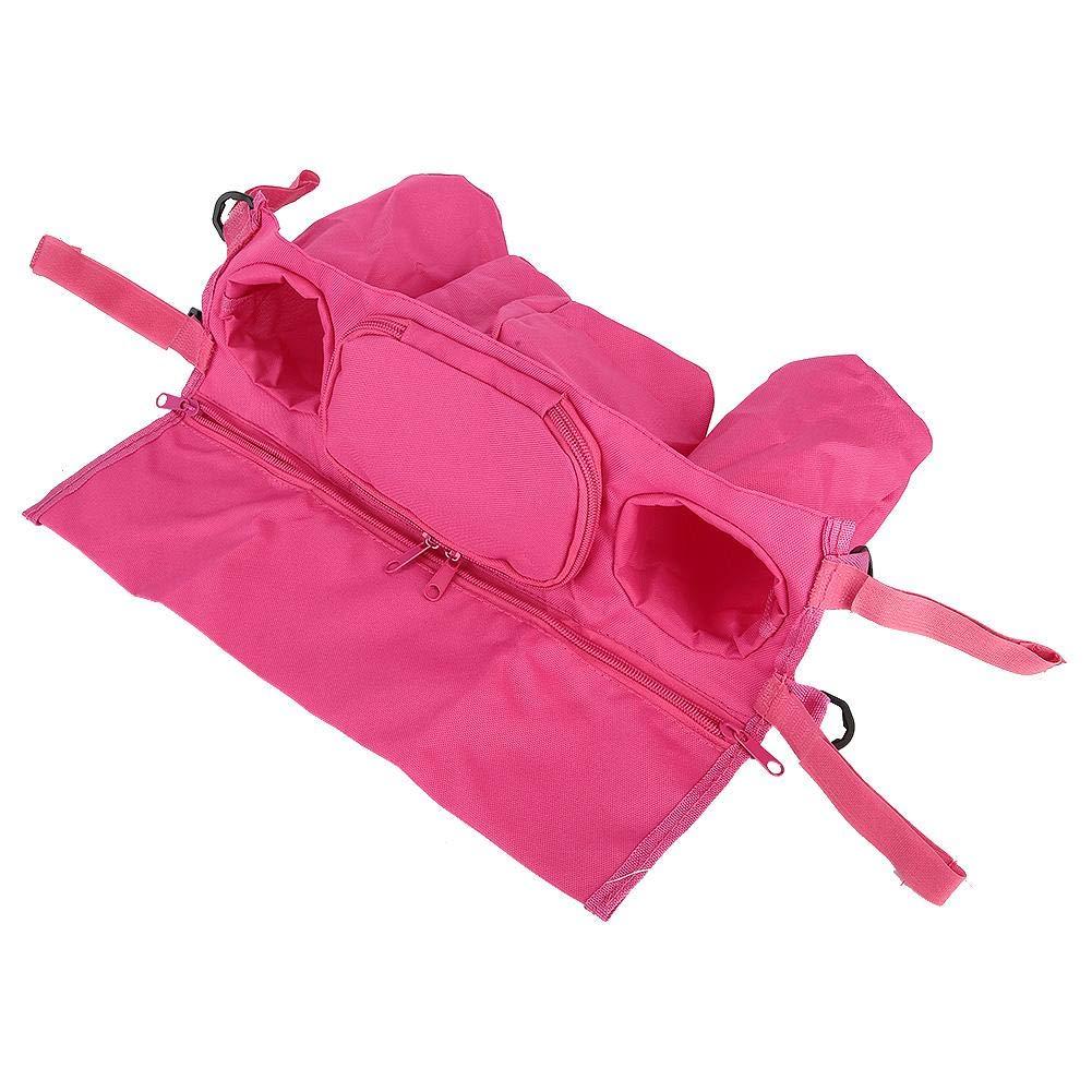 Stroller Organizer with Cup Holder, Zipper Design Durable Stroller Organizer Bag, Hook & Loop Design Cart for Umbrella Stroller(Pink)