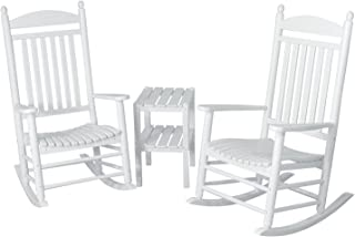 POLYWOOD PWS140-1-WH Jefferson 3-Piece Rocker Chair Set, White