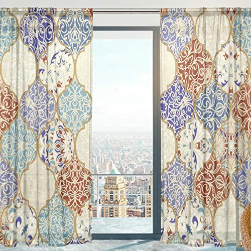 MNSRUU Fenster Gardinen, indische ethnische türkische marokkanische weiche Tüll Voile Vorhänge für Wohnzimmer Schlafzimmer 140 x 198 cm, 2 Panels