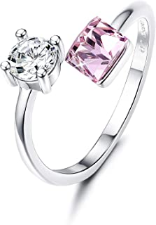 Sllaiss Crystals from Swarovski Adjustable Rings for Women 925 Sterling Silver Anniversary Rings Stackable Wedding Jewelry Pink Crystal White Gold Plated