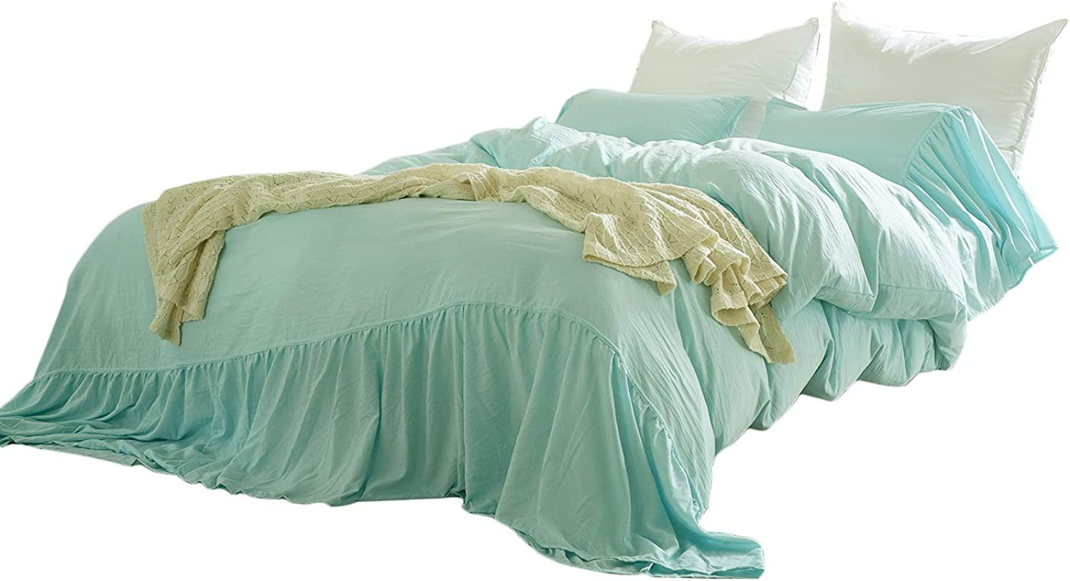 CoutureBridal Farmhouse Duvet Cover Twin Mint Washed Cotton Mermaid Tail Rustic Solid color Bedding Set Vintage Romantic Comforter Cover with Ties,1 Duvet Cover+1 Pillowcase