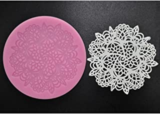 FOUR-C Cupcake Lace Mat Silicone Mold Cake Design Color Pink