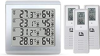 LCDデジタル湿度計、アラーム温度計ウェザーステーションテスター+ 3ワイヤレス屋外トランスミッター湿度センサーモニタリングアラーム、屋内用