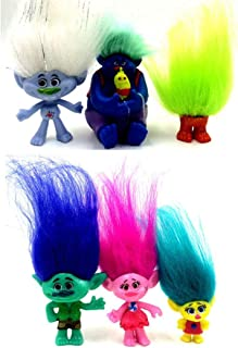 Qukueoy 6 Pack Poppy Trolls Figures with Hair for Girls Party Favors,Trolls Toys Branch and Poppy,Guy Diamond, Biggie, Smidge, Fuzzbert