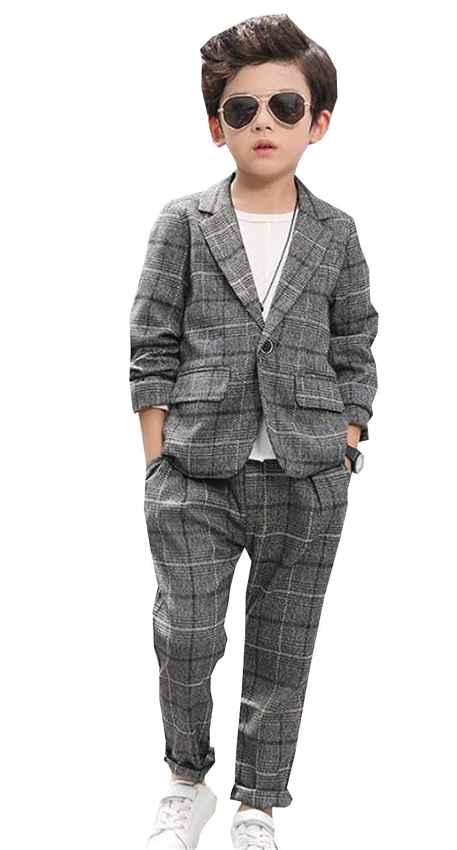 (ジュンィ) 男の子 二点セット ジャケット 長ズボン スーツ 入学式 卒業式 ボーイズ カッコイイ 110cm-160cm フォーマル チェック柄