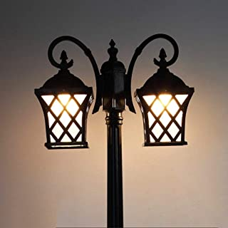 Ludry 1-Light 2-Lights Outdoor Waterproof Vintage Victoria Street Light High Pole Light European Retro Victoria Glass Lant...