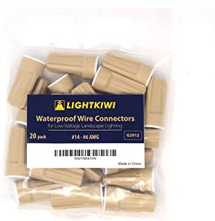 Lightkiwi Waterproof Wire Connector for Low Voltage Landscape Lighting (#14 - #8 AWG (20 Pack))