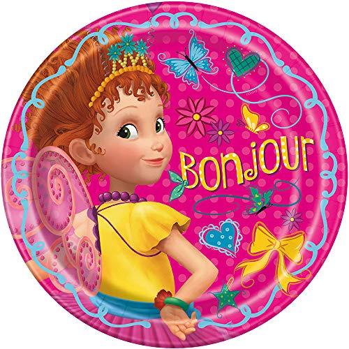 Unique Disney Fancy Nancy Round Dinner Plates - 8 Pcs, pink,'9'''