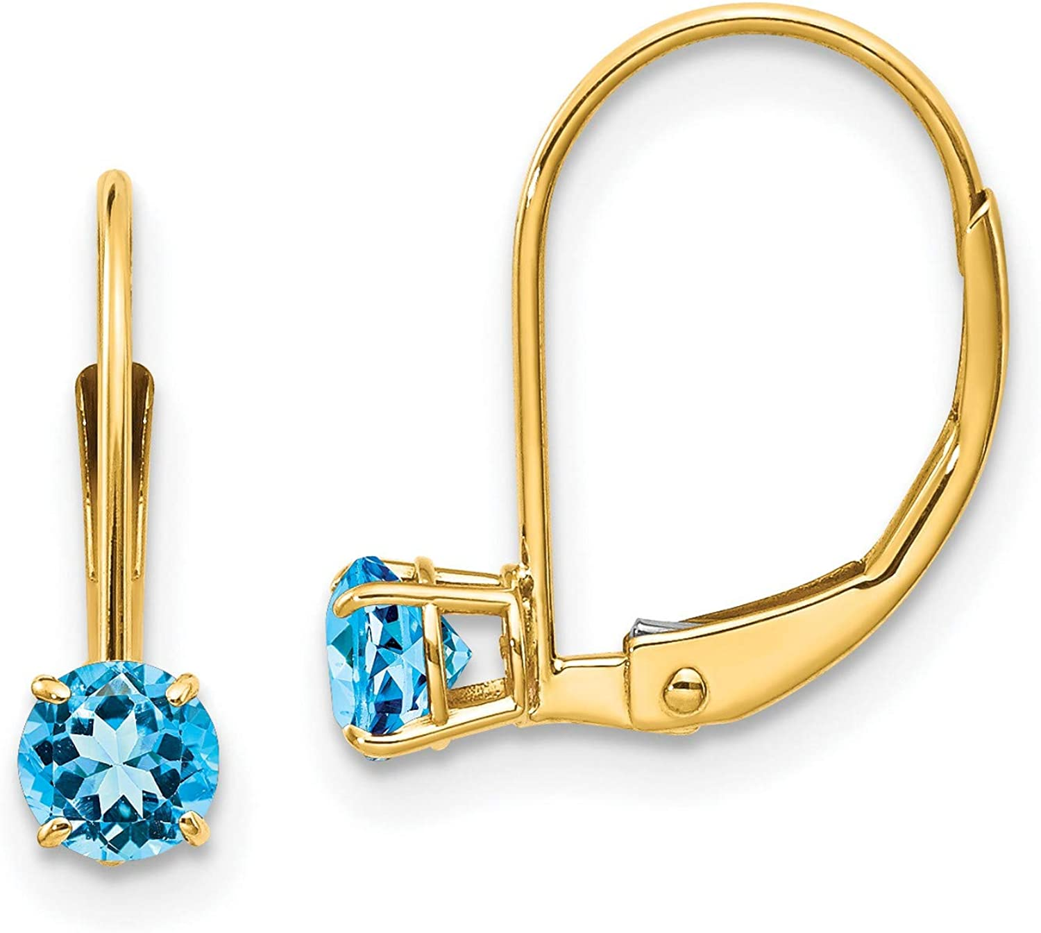 14k Yellow Gold 4mm Round Earrings Topaz December Fort Worth Mall Leverback Blue Max 43% OFF