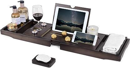 Bathtub Caddy Tray, Bamboo Bathtub Tray with Tablet and Wine Holder, Extendable Sides Nonslip Bottom Bath Organizer, Free ...