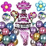 SVZIOOG Large Purple Cake Pink Diamond Crown Big Foot Mermaid Flower Aluminum Film Balloon Metallic Color Balloon 35 Piece Set