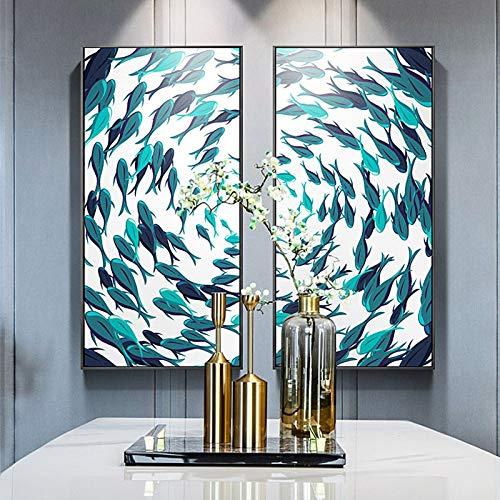 yhyxll Nordischer Stil Fisch im Meer Symmetrische Muster Wandkunst Leinwandbilder Poster und Drucke Für Arbeitszimmer Wohnzimmer Paar HD 50x100cm x2pcs