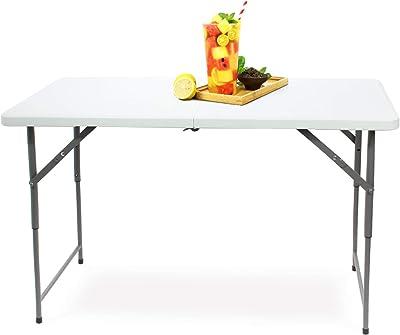 Todeco Table de Camping Pliante réglable en Hauteur, Traiteur Pliante Table 120x60x76cm, Table Pliante Transportable, Charge Maximale: 70 kg, Blanc