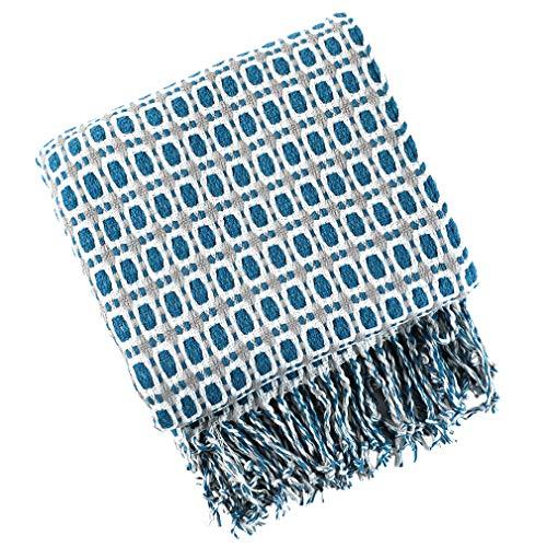 XIAKE Manta para sofá de punto, reversible, color azul marino, 130 x 240 cm